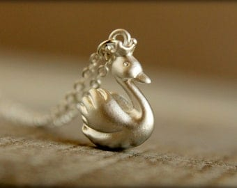 Royal Swan Necklace, Available in Matte Silver or Gold