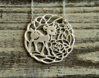 Fawn & Flowers Necklace, Available in Matte Silver or Gold