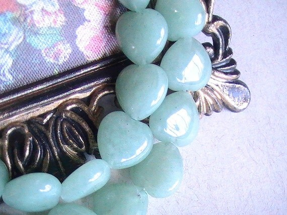 10pcs GEMSTONE Aventurine Heart Shaped Bead 12x12mm Pale Green Cottage Chis Style, Heart Bead