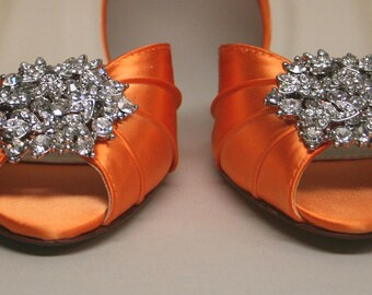 Wedding Shoes -- Orange Peeptoe Wedding Shoes with Silver Rhinestone Adornment