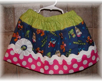 Girls Skirt Custom ...Muppets...Available in 0-12mon,1/2,3/4,5/6,7/8, 9/10 Bigger Sizes Available