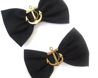 """Black with Anchors 3"""" Rockabilly Hair Bows on clips Double Bows Nautical Sailor"""