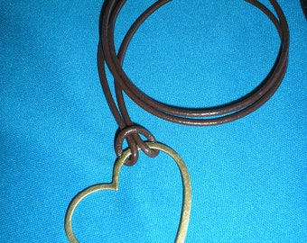 Leather cord eyeglass holder Necklace with a Big Open Heart Brass LOOP - black or brown cord