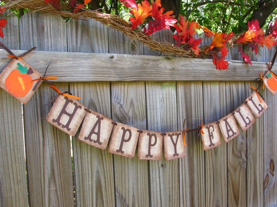 Primitive Fall Decor Burlap Banner Halloween By