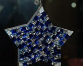 Christmas Star Ornament, Blue & Silver Glitter