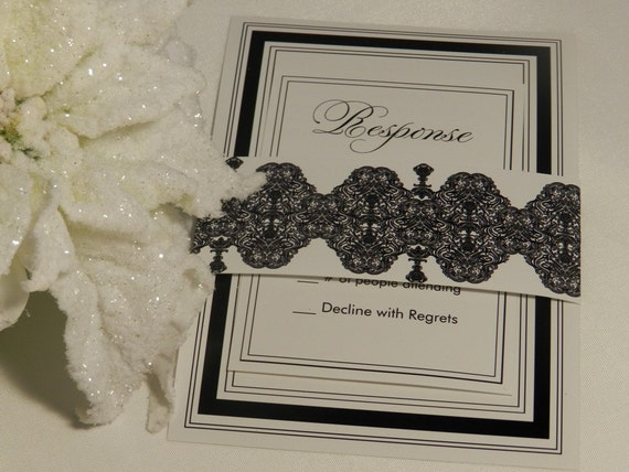 Damask White and Black Wedding Invitations - Sample Set
