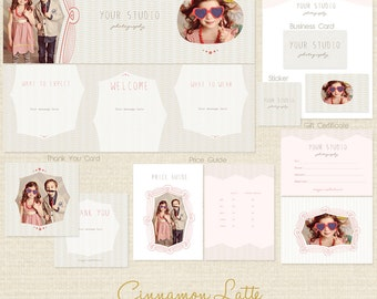 CINNAMON LATTE Premade Photography Marketing Template Set