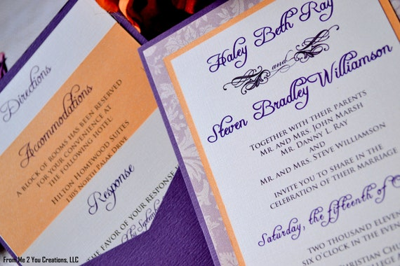 SAMPLE: Fall Wedding Invitation, Purple and Orange Rustic Fall Damask/Paisley Wedding Invitation, insert cards