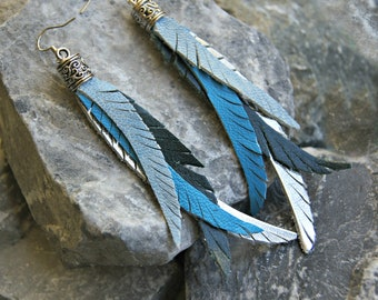 Leather Earrings, Feather Leather Earrings, Fleathers - Blue, Teal and Silver