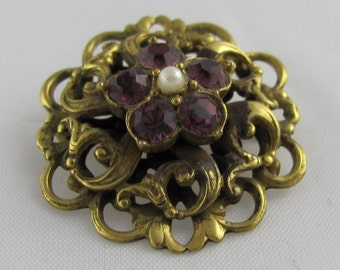 Victorian Gold Fleur di Lis Purple Rhinestones & Pearl Brooch Romantic styling delicate French country floral