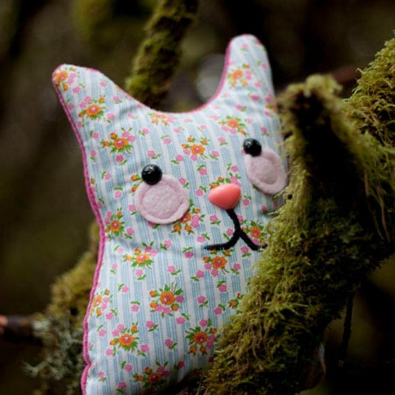 Josie - stuffed whimsy cat with floral pattern and sweet smile