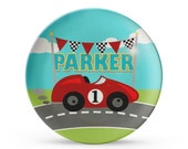 Personalized Plate, Boys Racecar Plate, Personalized Race Car Birthday Melamine Cake Plate