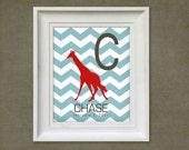 Nursery Art Print - Chevron Giraffe 8x10 Personalized Baby Room Decor