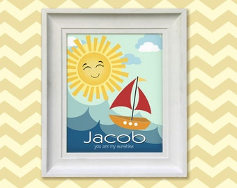 Sailboat Art Print, Personalized Chidrens Wall Art  - 8x10 Baby Room Decor