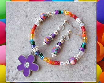 BRIGHT RAINBOW- Stretch Bracelet and Earrings Set- (Girls 4-6 yrs old)
