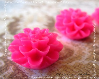 48 Resin Chrysanthemum Flower Cabochons Accessory  15x8mm