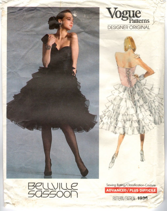1980s Bellville Sassoon party dress pattern - Vogue 1936