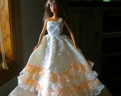 Barbie Dress Peach and White Lace
