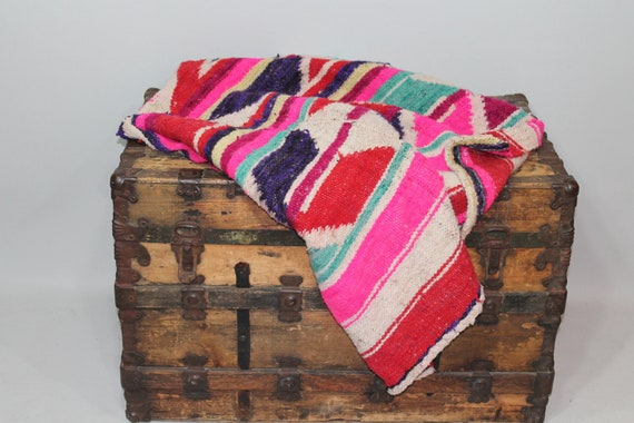 60s Mexican Rug Blanket Wool Ducks Pictoral Brightly Colored Pinks Ethnic Tapestry
