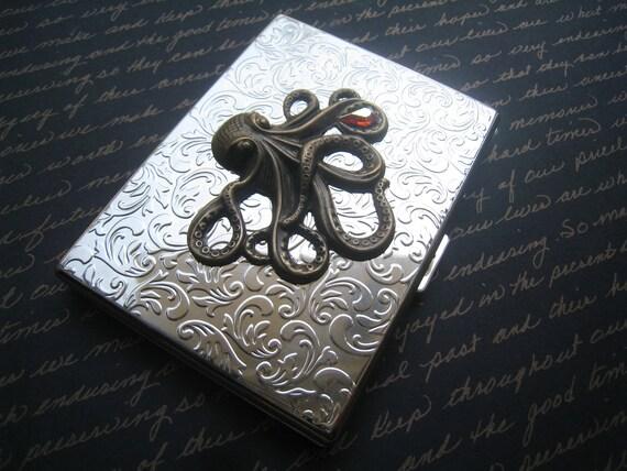 STEAMPUNK Octopus Cigarette Case, Shiny SIlver, Card Case, with Antique Bronze Kraken, Holding Teardrop Hyacinth Vintage 40 Yr Old Gem OOAK