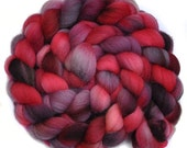 RESERVED for Angel - Handpainted roving - ANGEL'S RED - Falkland wool spinning fiber, 4.2 ounces