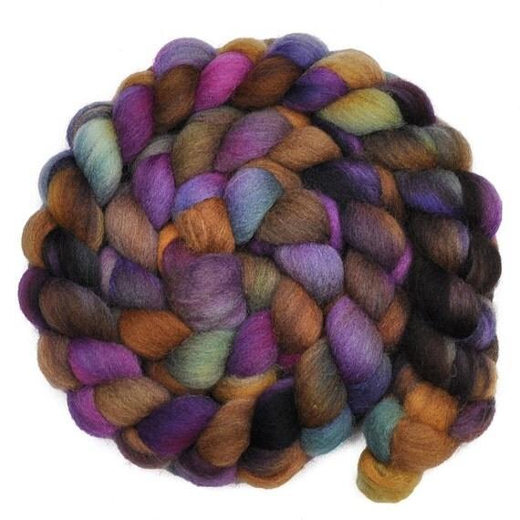 Handpainted roving - DARK SHADOWS - English Shetland wool spinning fiber, 3.9 ounces