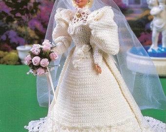 Crochet Pattern, Crochet Barbie Doll Wedding Gown, Sweetheart Bride Crochet Pattern,