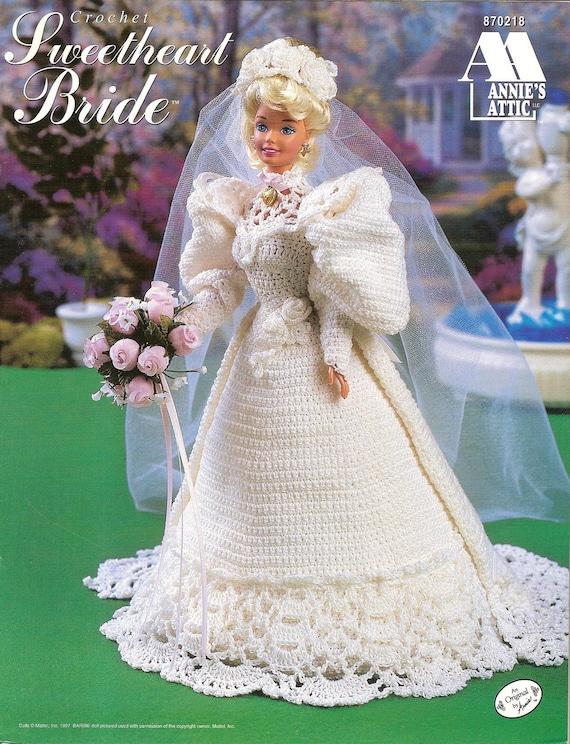 Crochet Pattern Wedding Doll : Crochet Pattern Crochet Barbie Doll Wedding Gown Sweetheart