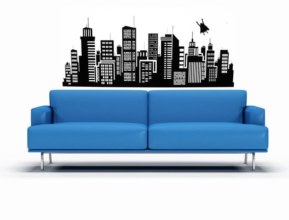 Superhero Flying over City, Skyline  - Decal, Sticker, Vinyl, Wall, Home, Boy's Bedroom Decor