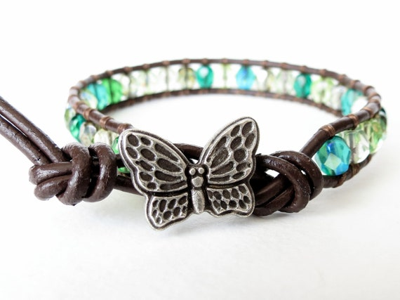 Hipster butterfly wrap bracelet with chocolate brown leather and woodland greens Czech glass beads mix, southwestern, sundance, boho chic