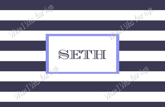 Navy & White Stripe Personalized Placemat
