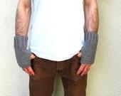 Men's Fingerless Gloves Grey Gray Christmas Winter Handmade Crochet Gifts For Guys Joyful Gabby - joyfulgabby