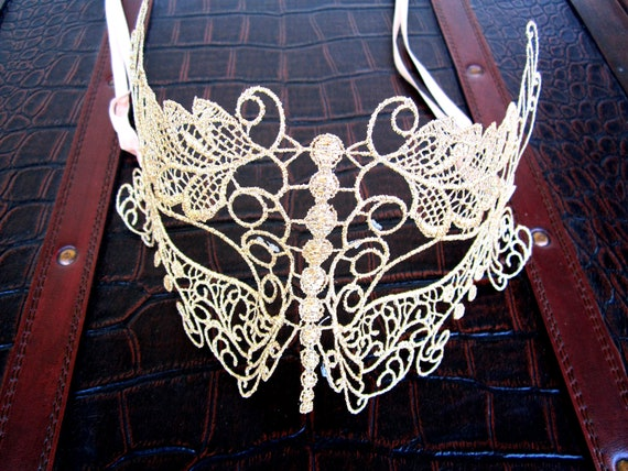 LACE butterfly MASK gold sexy halloween costume eye cat mask