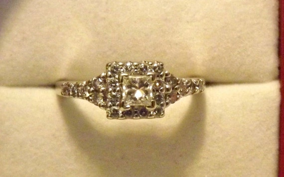 RESERVED Anna/Vintage Princess Cut Halo Diamond Ring/Engagement/Right Hand/Statement/14K White Gold