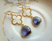 Tanzanite Earrings Purple Gold Clover Quatrefoil - Bridesmaid Earrings - Wedding Earrings - Valentines Day Gift