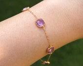 Lavender Bracelet Gold Plated Purple Lilac Bracelet - Bridesmaid Gift - Bridesmaid Bracelet - Bridesmaid Jewelry - Lavender Wedding Jewelry