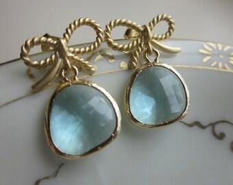 Aquamarine Blue Earrings Gold Bow Earrings Ribbon Stud - Bridesmaid Earrings - Wedding Earrings - Valentines Day Gift
