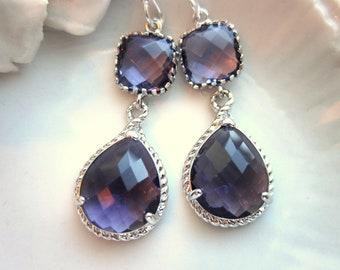 Amethyst Earrings Purple Silver Earrings Two Tier Teardrop - Bridesmaid Earrings Wedding Earrings Valentines Day Gift