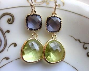 Peridot Earrings Tanzanite Gold Plated - Bridesmaid Earrings - Wedding Earrings - Valentines Day Gift