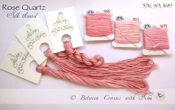 Rose Quartz - 100% pure silk thread, floss, hand dyed, hand painted, for embroidery and cross stitching - Nina's Silks