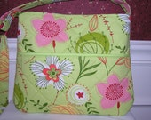 Lime Green Background with Pink, White and Yellow Flowers Quilted Purse - YellowZinniaPurseCo