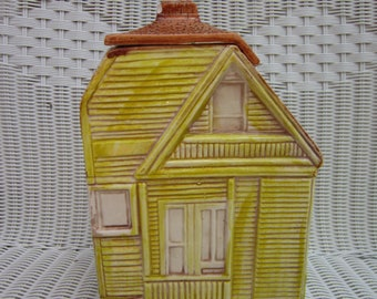 Victorian House Ceramic Cookie Jar Pottery