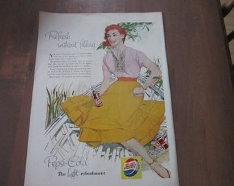 Vintage PEPSI COLA  soda advertisement woman in Yellow dress in boat