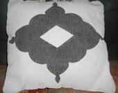 Cream and faded black diamond accent pillow