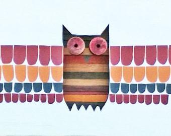 Reclaimed Wood Art - Skotak - Salvaged - Owl - Native - Totem