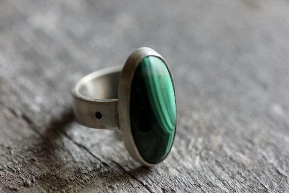Oval Malachite & Sterling Ring, Gorgeous Stone, Unisex, OOAK, Size 6