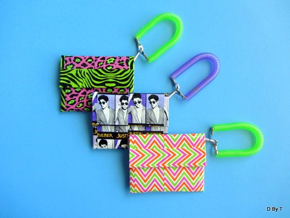 Set of 3 Duct Tape Coin, ID, or Gift Card Pouches with Wrist Bracelet Assorted Favors