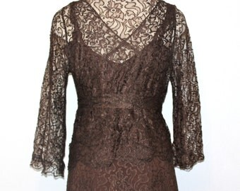 30s 1930s 5-pc Lace Dress Jacket Evening Wedding Party Art Deco Long Espresso Brown XS S Kathryn Hepburn Rita Hayworth Fall Fashion winter
