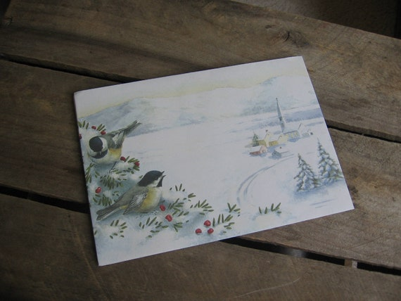 Christmas Envelopes Set of 6 with Birds and Snow Scene
