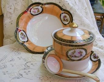 Antique    Noritake Sugar Bowl,Saucer, and Bowl